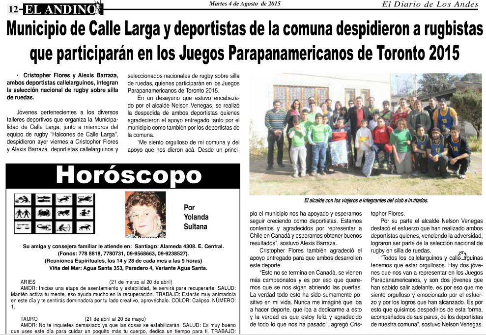 Diario el Andino 4 de Agosto 2015